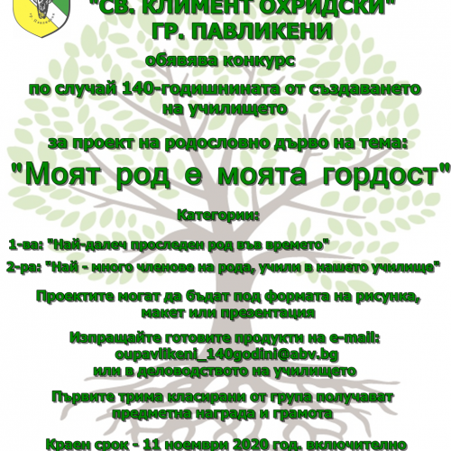 Конкурс за проект на родословно дърво